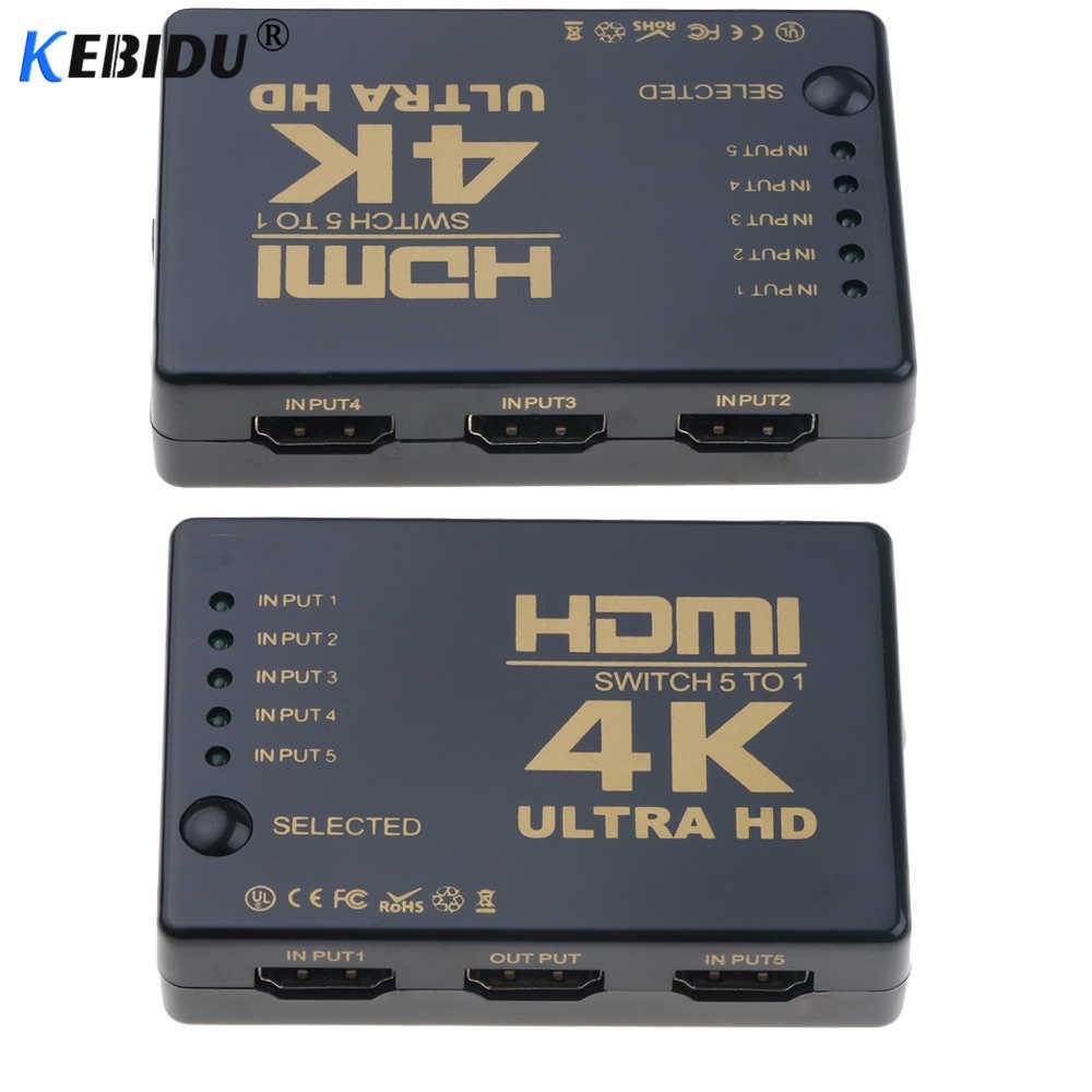 Kebidu 4 K * 2 K HDMI Switcher HDTV 1080 P 5-Port 5 Input untuk 1 Switch selector Splitter Hub IR Remote 3D untuk PS3 Xbox 360 HDTV DVD