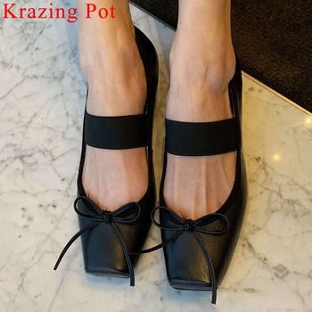 2019 Concise princess style natural leather low heels slip on loafers classic square toe large size sweety girls cute shoes L8f2