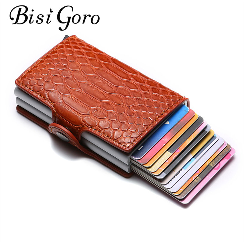 BISI GORO 2019 RFID Bussiness Card Holder Men And Women PU Leather Metal Wallet Card Holder Credit Card Case Pocket Dropshipping