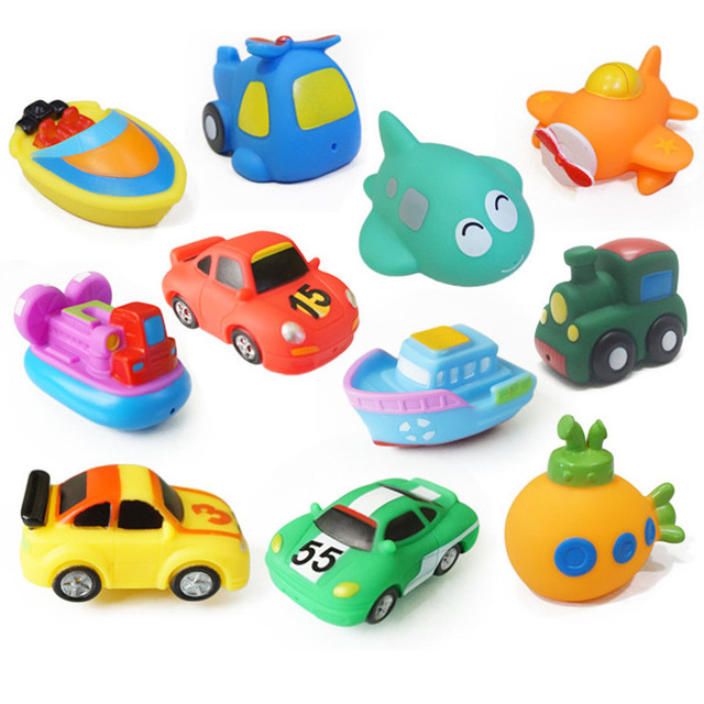 11 Styles Baby Shower Bath Toys Squeeze Sounding Floating Rubber Animals/Car/Fish/Train Kids Toys