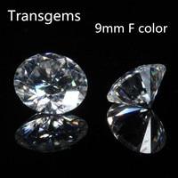 Transgems 1 Piece 9mm 3ct Carat Diamond equivalent weight Stunning F Colorless Moissanite Loose Gemstone Beads Luxury Jewelry