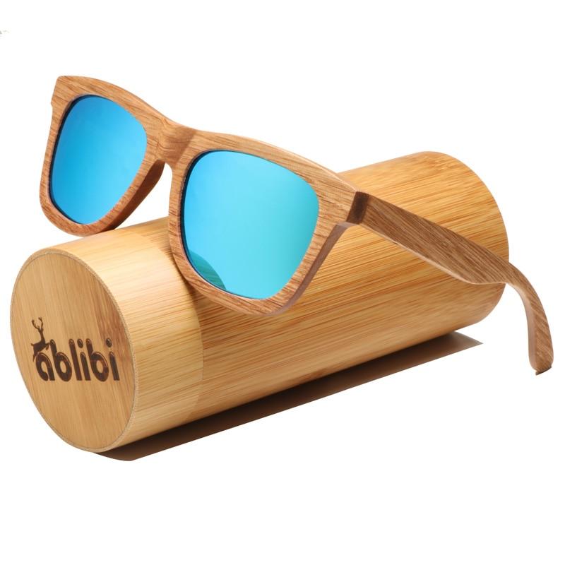 Ablibi Men's Bamboo Wood Sunglasses Vintage Wooden Craft Polarized Designer Sun Glasses for Women Eyewear in Wood Box