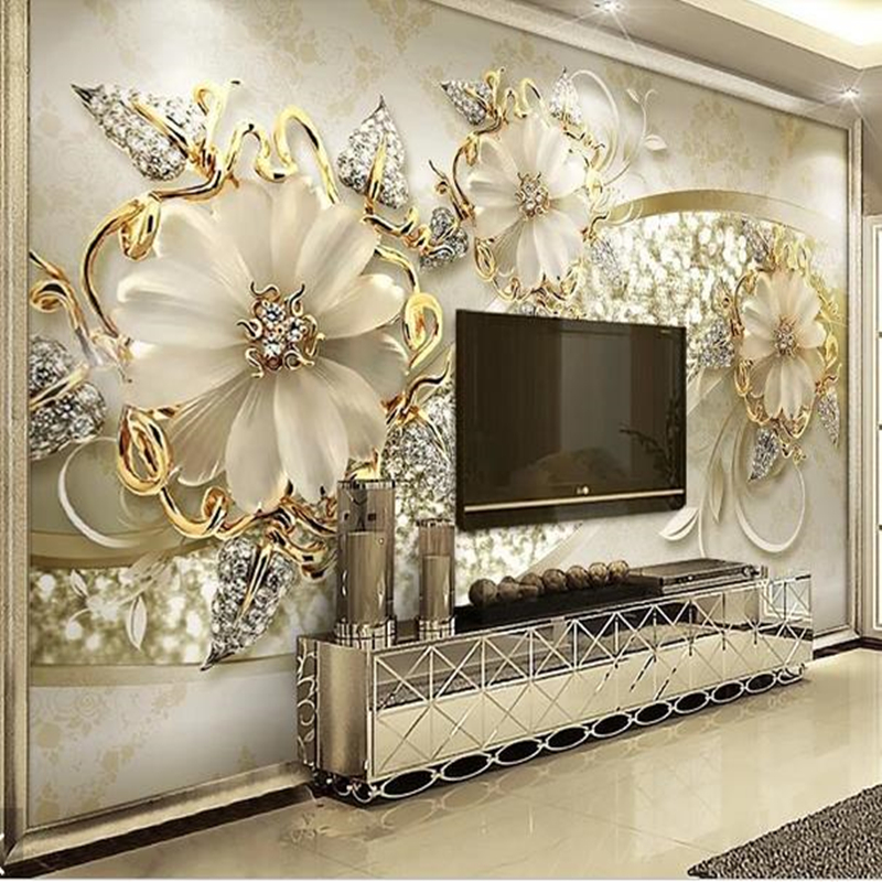 Custom Size 4D Silk Cloth Wall Murals Modern Custom Photo Wallpapers For Living Room Jewelry Flowers Wall Papers Home Decoration