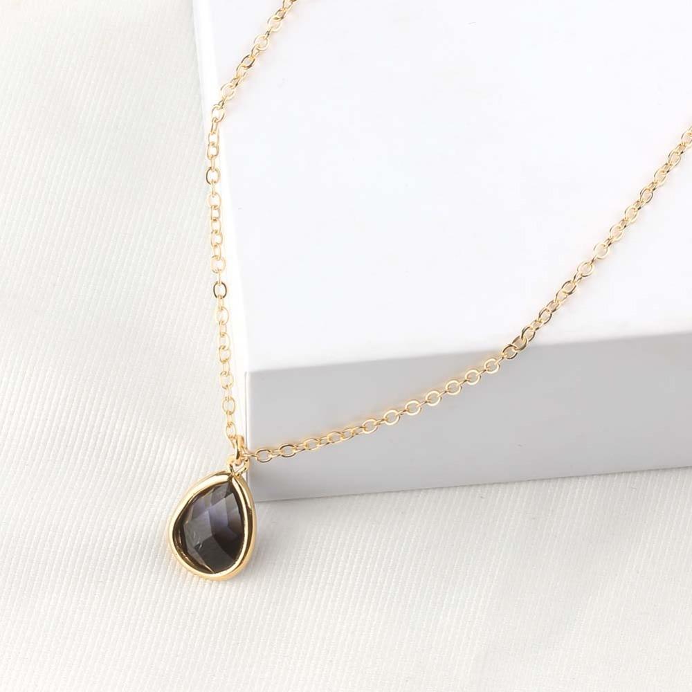 Fashion Glass Teardrop Pendant Necklace Druzy Quartz Gem Crystal Charm Gold Chain Necklace Women Fashion Female Jewelry