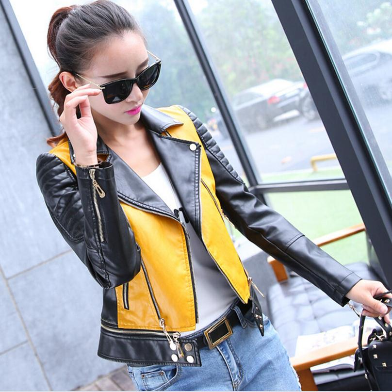 3XL Wholesale stiching colors 2017 new PU leather jacket women s European stations Slim short jackets