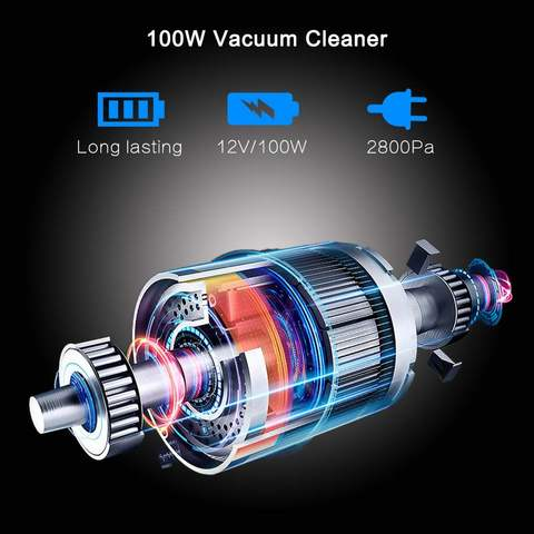 Cordless Car Vacuum Cleaner with LED Light 12V 120W Mini Auto Home Dual-Use Cleaner Wet / Dry Auto Portable Handheld Aspirador Islamabad