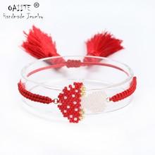 OAIITE Pulsera MIYUKI Mushroom Bracelets For Women Tassel  Handmade Braide Rope Chain Delica Jewelry Dropshipping