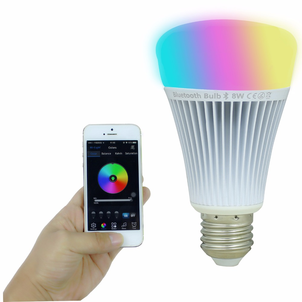 8W E27 RGB Bluetooth LED Bulb Smart MiLight Dimmable Spotlight Lampara House Light Indoor Decoration Support iOS Android4.3 APP  milight led bulb dimmable 8w e27 rgb cct led lamp light spotlight rgbww 2 4g smart lampara led house light indoor decoration