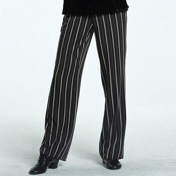 Men Latin Performance Dance Trousers Stripe Pants Costume Male Tango Rumba Samba Dancing Clothes Practice Pants DQS1766