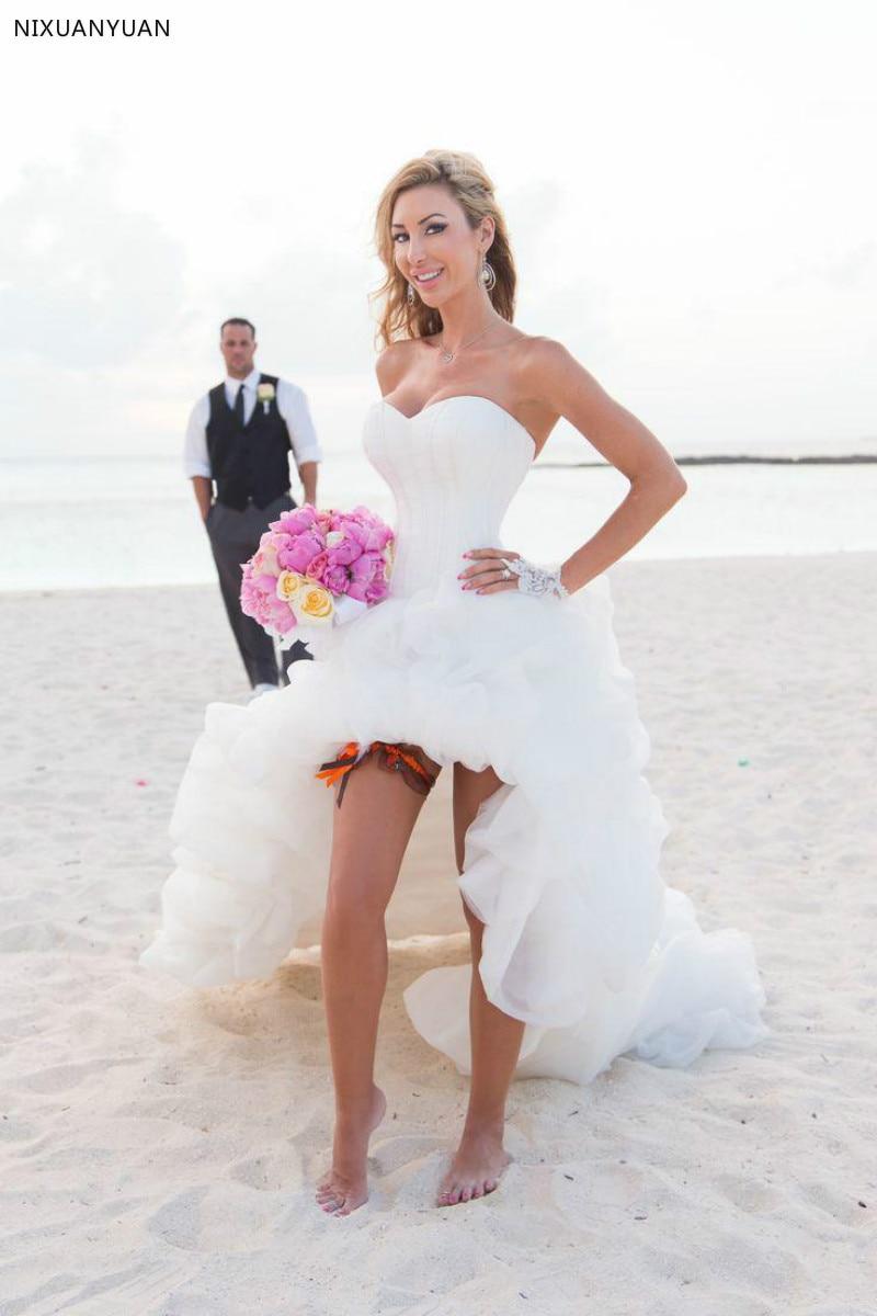 High Low Vestido De Noiva A Line Beach Wedding Dresses Short Front Long Back Wedding Dress 2019 Country Bridal Gowns