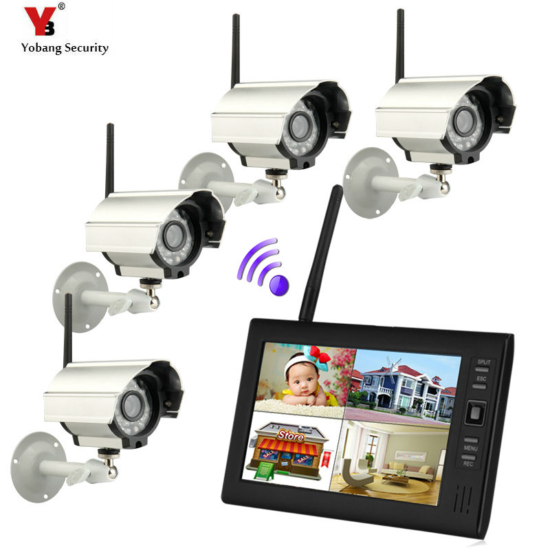 7 inch 2.4G LCD Monitor Wireless Audio Video Baby Monitors 4CH Quad DVR Security System With IR цена 2017