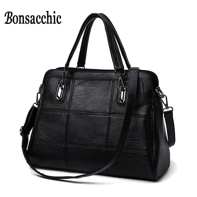 Bonsacchic Fashion Ladies Hand Bag Women s Genuine Leather Handbag Black Leather Tote Bag Bolsas femininas