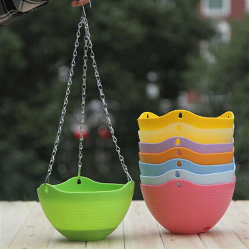 8 Inch Wall Hanging Flower Basket Pot Home Garden Decor Plant Tub Holder Colorful Decoration Balcony Hanging Baskets drop ship
