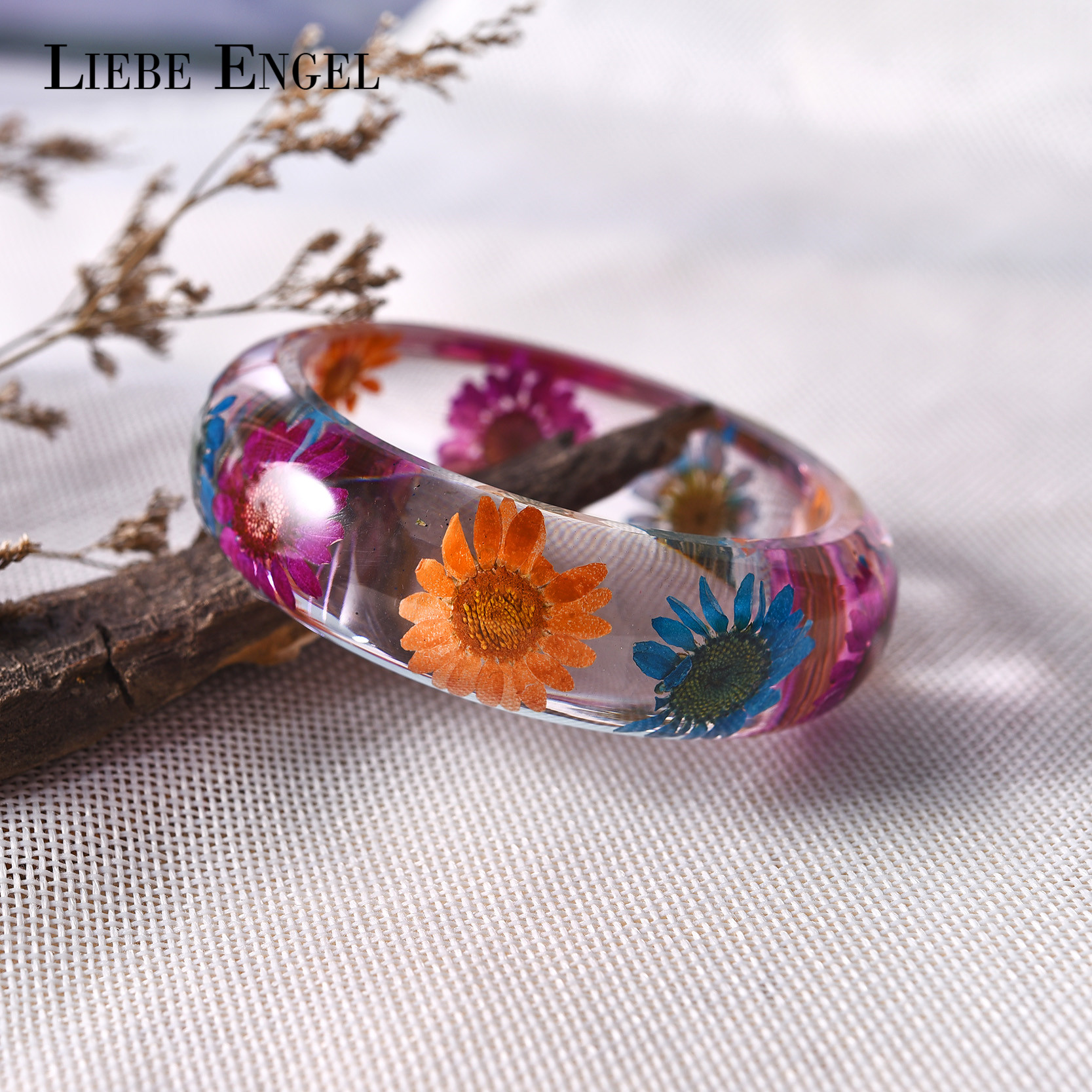 LIEBE ENGEL Real Colorful Dried Flower Resin Bangle Bracelet Cuff Bracelet For Women Indian Jewelry Handmade 2017
