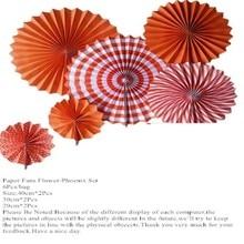 6Pcs Wedding Paper Fans Of Orange Paper Fans For Wedding Tissue Paper Fans Flowers Party Ho
