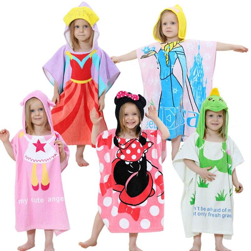 1-6 Jahre Mit Kapuze Bademantel Robe Bath Druck Handtuch Mantel Robes Pyjamas Cartoon Mädchen Baby Kinder Kinder Kleidung Ändern Pads