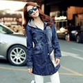 2015 Autumn Fashion Women Trench Coat Denim Blue Wide-waisted Hooded Long Trench Spring Slim Single Breasted Casual Overcoat