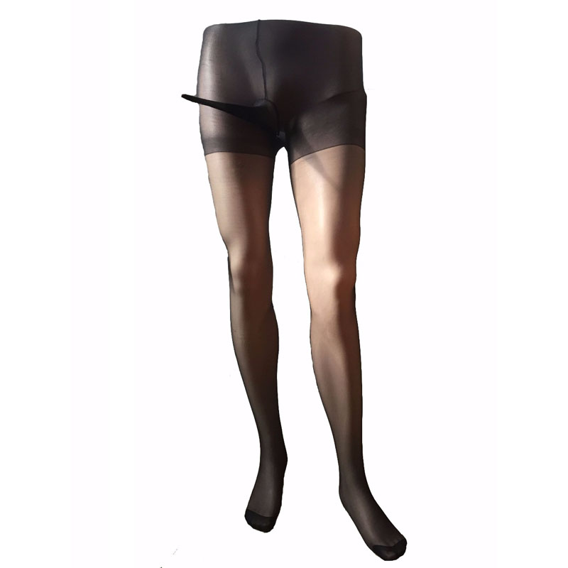 Men Footless Sheer Nylon Pantyhose Tights Stockings Crotch Close Sheath Open