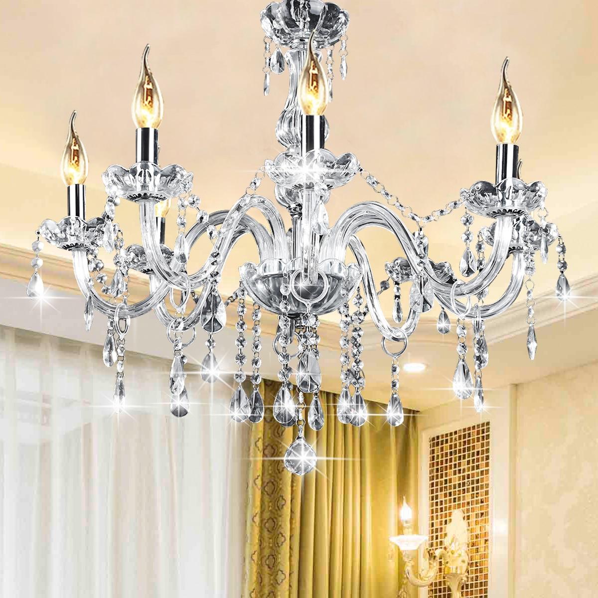 AC110-240V 8 Heads E12 Clear Crystal Chandelier Ceiling Light Modern Chandeliers Crystal Light Fixture Bedroom Hanging цена