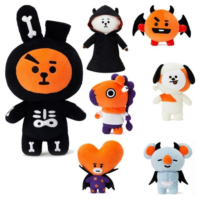 Kpop maison pour bangtan garçons autour BTS Halloween BT21 même Q version de bande dessinée Poupée TATA COOKY CHIMMY en peluche jouet
