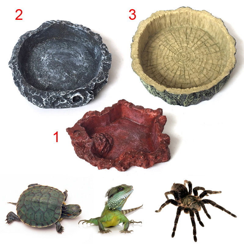 Crawler Pet Feeder Bowl Basin Resin Non-toxic Food Water Pot Reptile Turtle Tortoise Scorpion Lizard Crabs Pets Supplies E2s