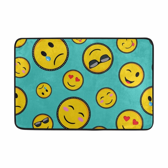 Funny Emoji Pattern Bathroom Mat Entrance Welcome Mats