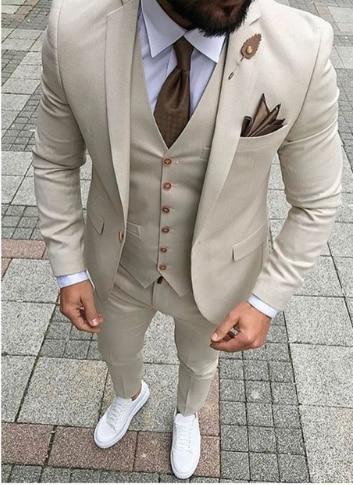 Handsome Groomsmen Wool blend Groom Tuxedos Mens Wedding Dress Man Jacket Blazer Prom Dinner (Jacket+Pants+Tie+Vest) A126