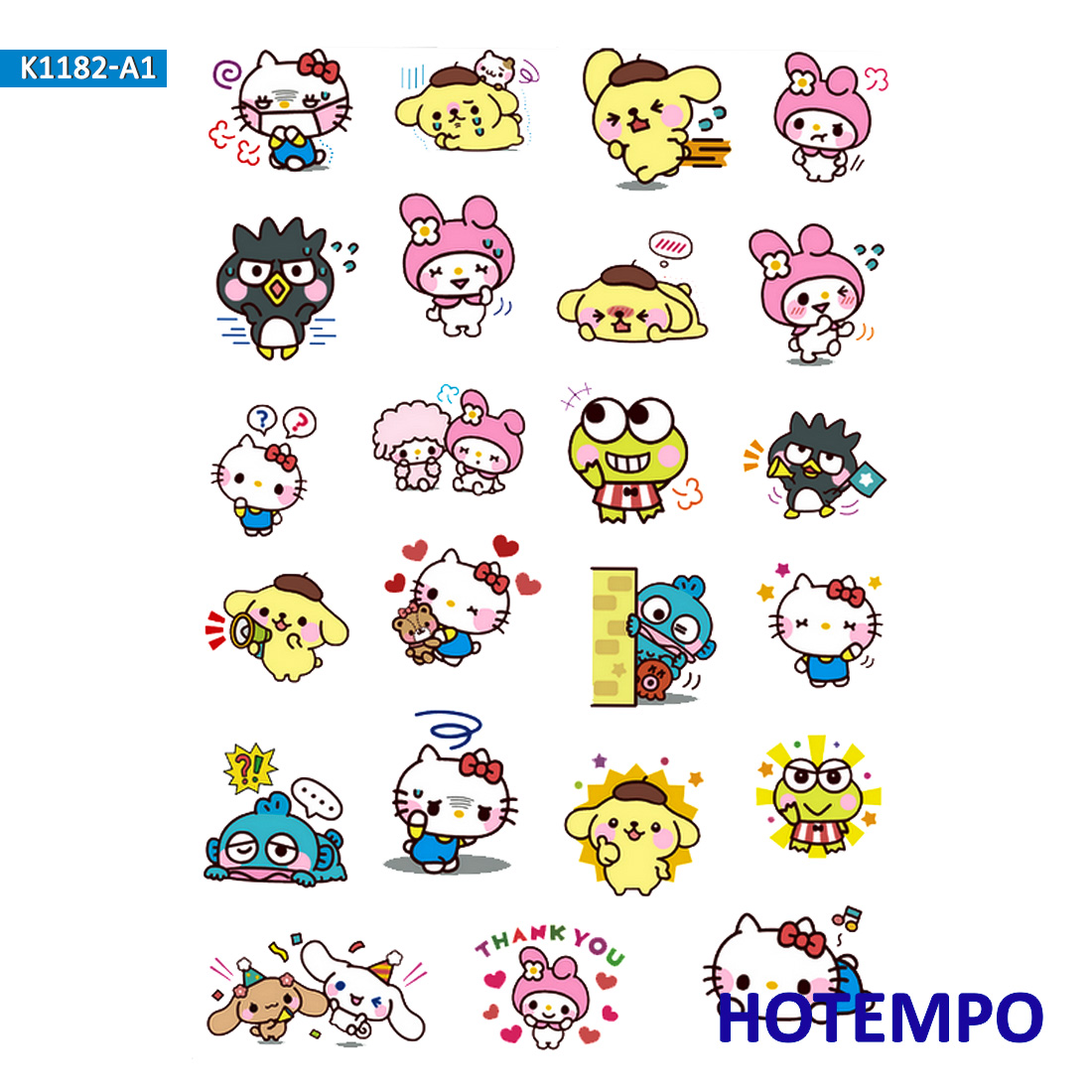 Sanrio Kitty Melody Kuromi Pompom Twin Stars Stickers For Children Kids Letter Diary Scrapbooking Stationery Pegatinas Stickers