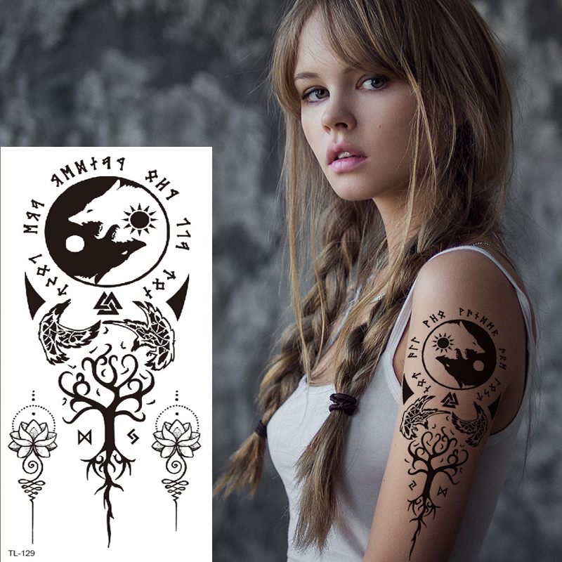 Yin Yang Tattoo Tribal Mandala Temporary Tattoo Sexy Arab Mehndi Stickers Black Henna Tattoos Lace Sticker Indian Tatoo Fake