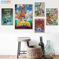 Canvas Poster Silk Fabric Custom Scooby Doo Home Decor modern For Bedroom Poster Size Poster