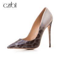 CZRBT Top Quality Handmade Elegant Leopard Print Gradient Color Pointed Toe Shoes Women 12cm High Heels
