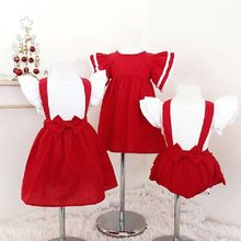 Sister Matching Clothes Toddler Baby Girl Red Lace Dress Ruched Belt Skirt Bow White Tee Costume цены