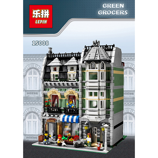 LEPIN 15008 2462Pcs Genuine New City Street Green Grocer Model Building Kit Blocks Bricks Toy Gift Compatitive Funny for 10185 dhl lepin15008 2462pcs city street green grocer model building kits blocks bricks compatible educational toy 10185 children gift