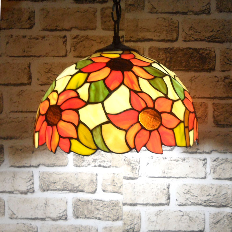 Bohemian sunflower pendant lights pastoral country style Tiffany bedroom dining room lamp Mediterranean bar lamp 0057 a1 master bedroom living room lamp crystal pendant lights dining room lamp european style dual use fashion pendant lamps