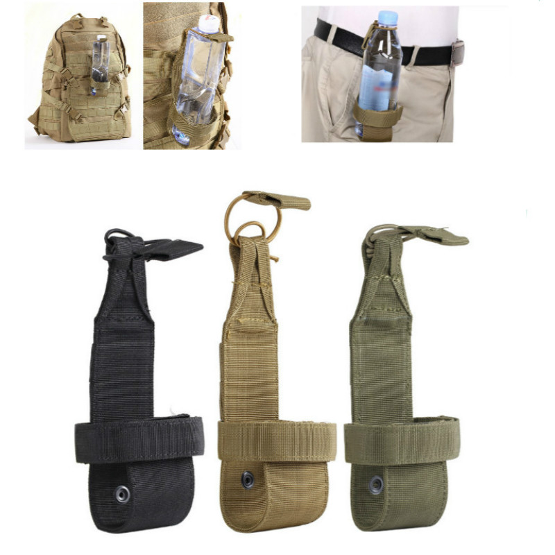 Durable And Portable Outdoor Travel Kettle Bag Tactical Water Bottle Pouch Nylon Adjustable Magic Tape Military Cover Holster