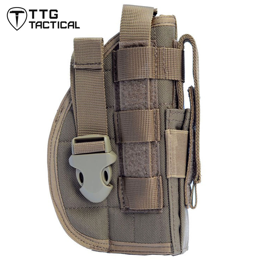 TTGTACTICAL Right Hand Tactical Leg Gun <font><b>Holster</b></font> <font><b>Molle</b></font> Modular Pistol <font><b>Holster</b></font> with Magazine Pouch for <font><b>1911</b></font> 45 92 96 Glock image