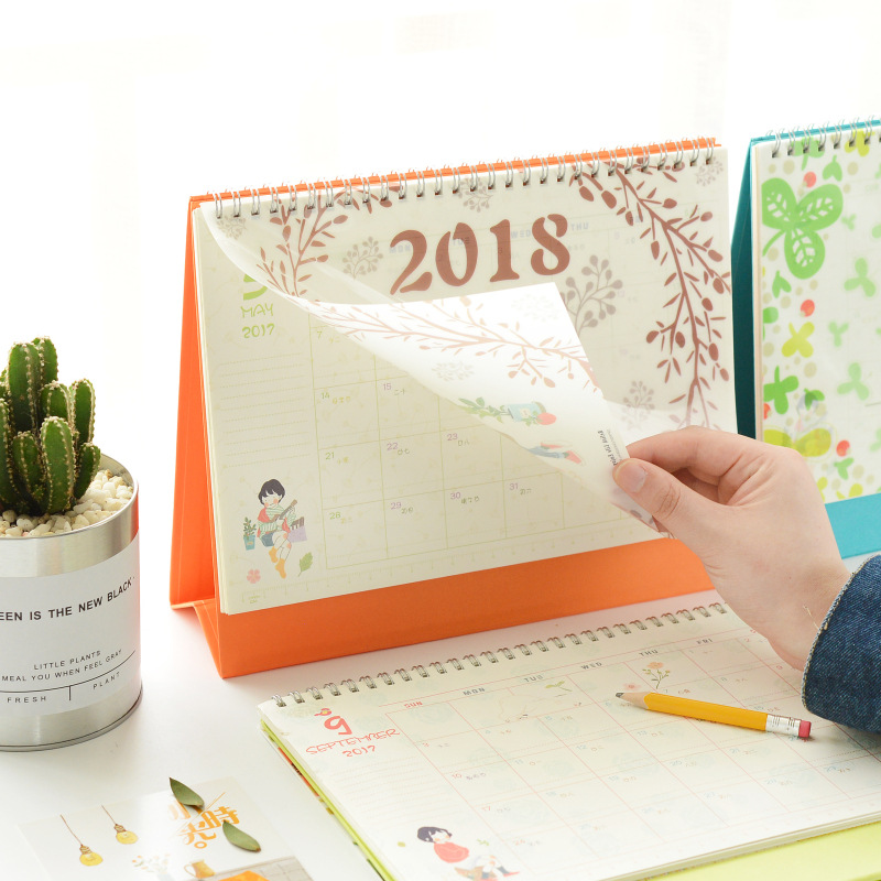 2018 mini table calendars desk planner girl calendar paper stationery office school supplies february 2017 to december 2018 in calendar from office school