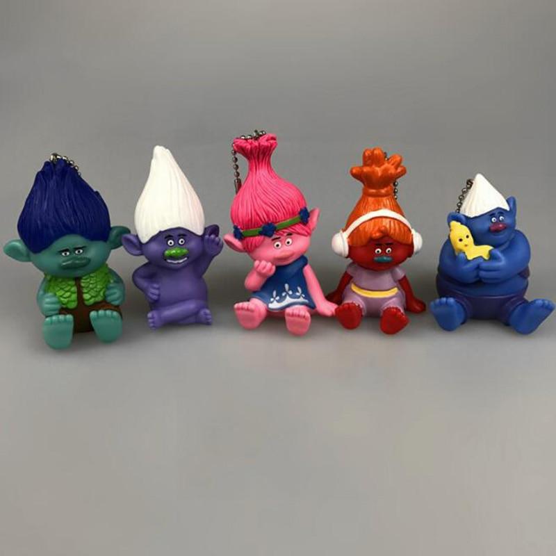 1 Pc Cute Trolls Keychain Movie Dreamworks PVC Collection Doll Bag Pendant Keyring Figure Toy