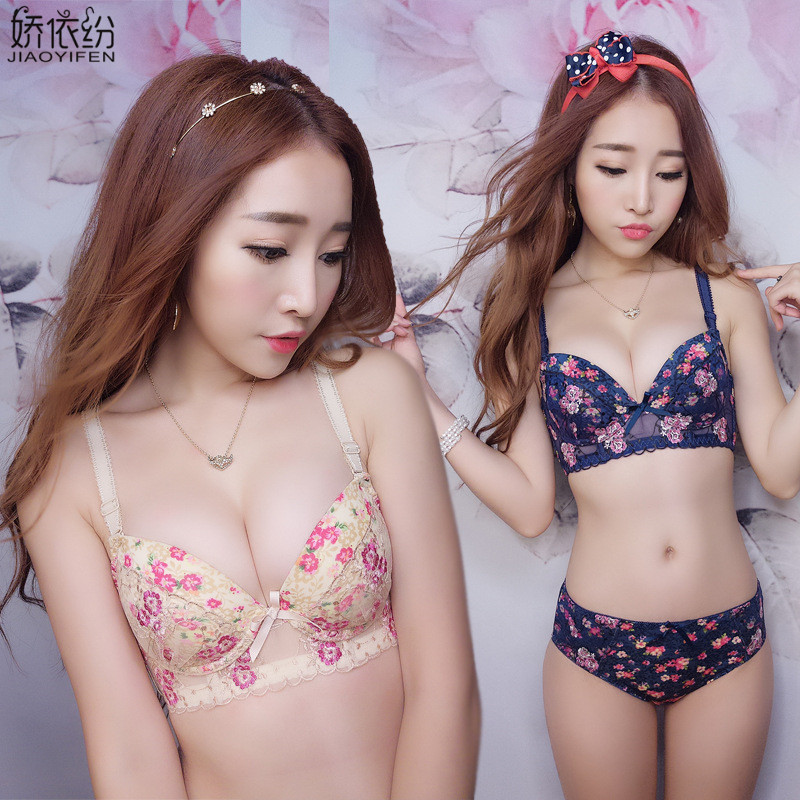 JYF Brand Women Underwear   Set   Floral   Bra   Panty   Set   Sexy Young Girl Lace Embroidery Sexy Lingerie Deep V Push Up   Bra     Sets