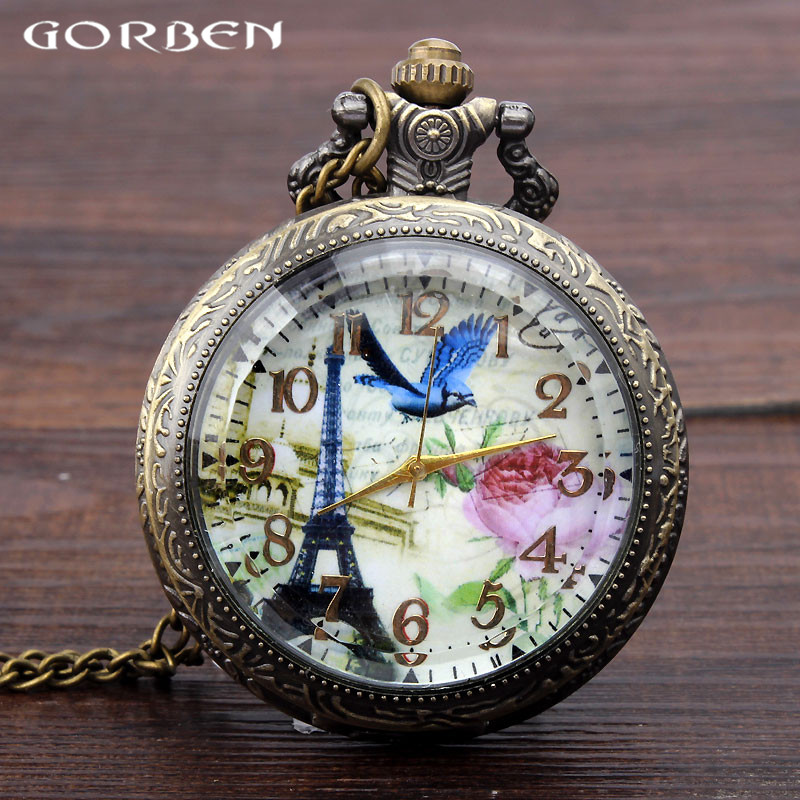 Antique Eiffel Tower Love Bird Flower Hollow Quartz Pocket Watches Women Mens Cute Pendant Clock Gift For Men Women Kids Coupon