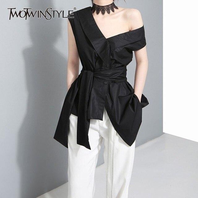 TWOTWINSTYLE Sleeveless Sashes Tunic Women's Blouses Shirts Summer V Collar Black Khaki Irregular Loose Shirt Tops Casual