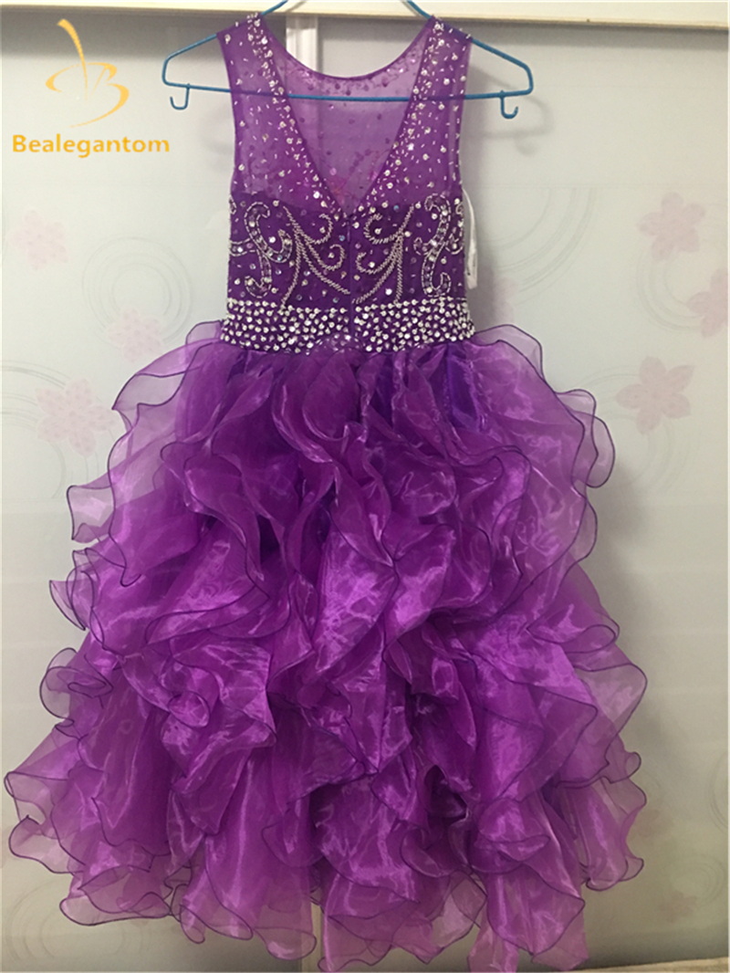 cc966699cb50 2017 Sweet Purple Flower Girls Dresses Organza Tiered Ruffles Shiny Sequins  Kids Princess Pageant Gown Comunion Dress QA783-in Flower Girl Dresses from  ...