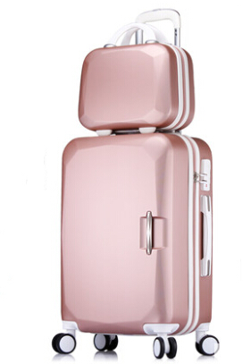 Women ABS Luggage and Cosmetic Bag Set Color Block Coded Luggage Sets 20/22/24/26 Inch Rose Gold/Pink/Mint Green/Water Blue