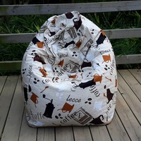 The Coffee Time Style Bean Bag Chair Garden Camping Beanbags Covers Lazy Sofa Anywhere Portable Sitting