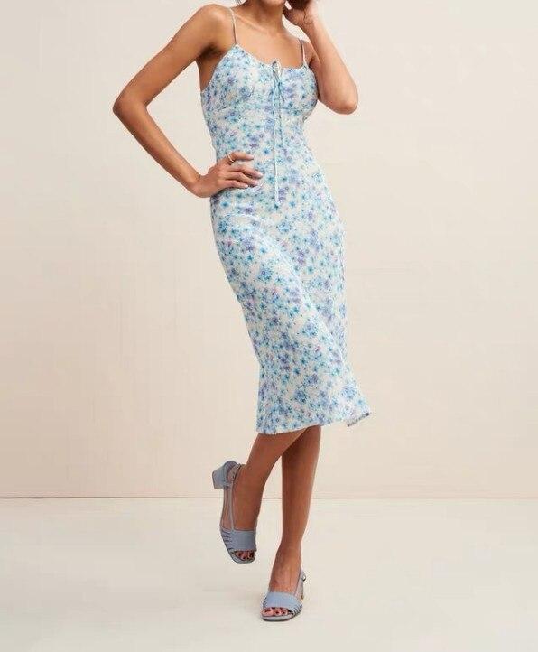 Frauen Ärmelloses Schlank Floral Kleider Casual Spaghetti Strap Blau Kleid-in Kleider aus Damenbekleidung bei  Gruppe 1