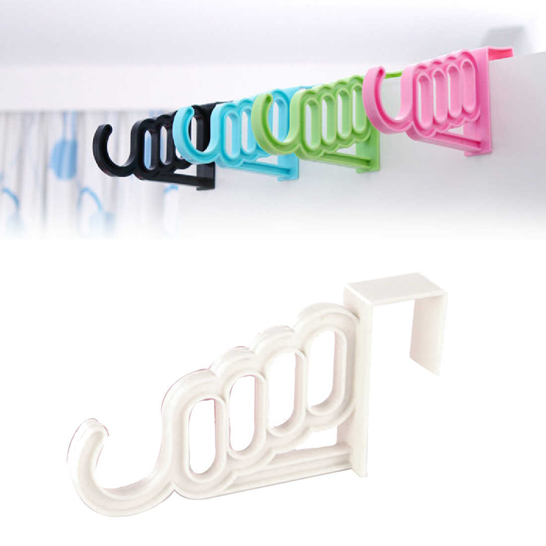 Multi-Function Home Accessories Foldable Clothes Hanger Drying Rack 5 Hole Suit Bathroom Door Plastic Organizer