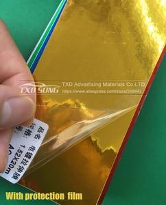Image 4 - 50 cm * 100/200/300/400/500 cm 높은 stretchable 골드 미러 필름 크롬 미러 비닐 랩 시트 롤 필름 자동차 스티커 데 칼 시트