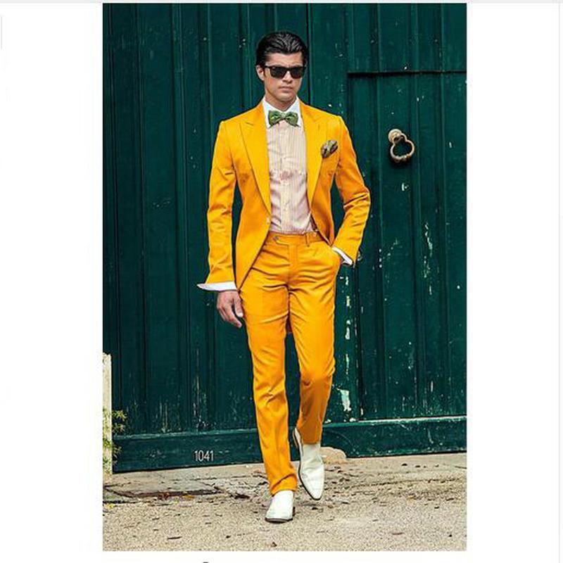 Latest Coat Pant Designs Shawl Lapel Slim Fit Groom Tuxedos Yellow Men Suits Wedding Suits Men Prom Tuxedo Suit