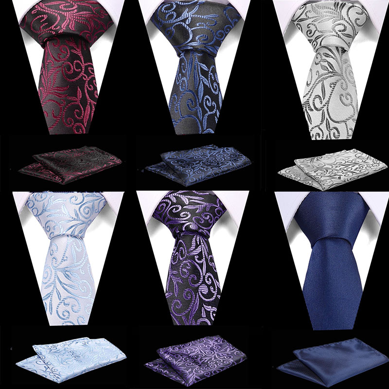 New Flroal Formal Tie Waterproof Necktie Pocket Square Set Business Wedding Classic Men's Silk Ties 7.5cm Corbatas Fashion