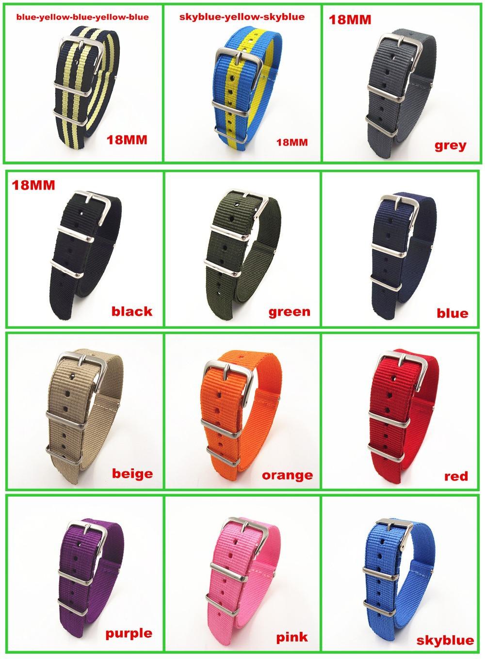 Prix pour Hot vente! Gros 10 unidades/lotes haute qualité 18 MM Nylon bande de montre otan sangles étanche bracelet - 20 couleurs disponibles